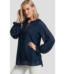 blusa de manga larga de color puro con diseño de lazo azul marino