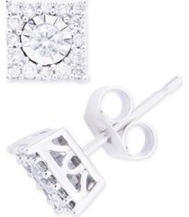 diamond cluster stud earrings (1/3 ct. t.w.) in 14k white gold, yellow gold and rose gold