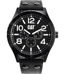 reloj cat con correa de piel para caballero-negro con blanco