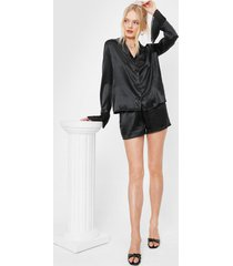 womens satin chiffon shirt and shorts pajama set - black