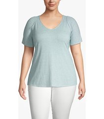 lane bryant women's heathered shirred-shoulder tee 14/16 forget-me-not blue