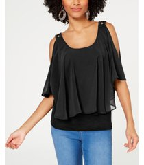 thalia sodi cold-shoulder overlay top, created for macy's