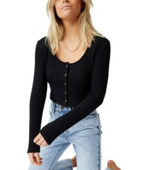 cotton on women's perry pointelle button through cardigan
