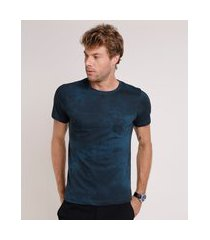 camiseta masculina slim estampada com bolso manga curta gola careca azul petróleo