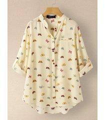 camicetta a maniche lunghe con bottone a colletto stampato farfalla