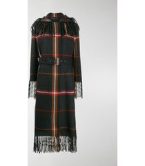 salvatore ferragamo fringed tartan coat