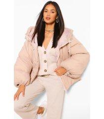 oversized gewatteerde jas met capuchon en grote mouwen, nude