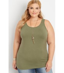 maurices plus size womens basic layering tank green