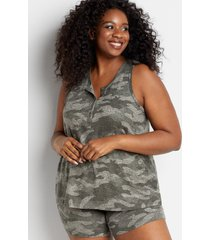 maurices plus size womens 24/7 camo henley tank top green