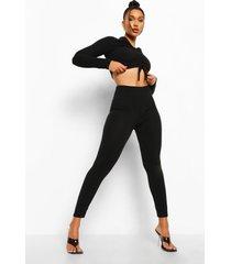 gekreukelde geribbelde geplooide top en leggings, black
