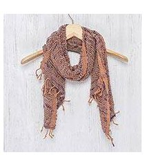 cotton shawl, 'breeze of brown purple' (thailand)