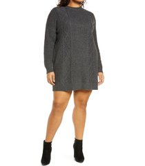 plus size women's bp. cable long sleeve sweater dress, size 2x - grey