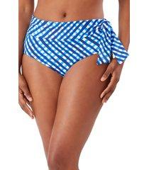 women's tommy bahama harbour island high waist bikini bottoms, size small - blue