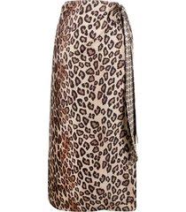 alberto biani leopard print midi silk skirt - neutrals