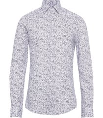 printed easy care slim shirt overhemd casual blauw calvin klein