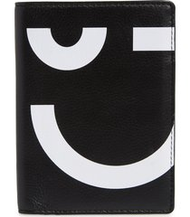 nordstrom printed leather passport wallet - black