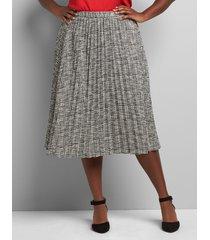 lane bryant women's pull-on pleated midi skirt 26/28 black/white