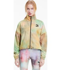 evide printed fleece trainingsjack voor dames, wit, maat xs | puma