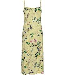 ecovero™ square-neck midi dress jurk knielengte geel banana republic