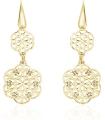 orecchini pendenti in ottone dorato e strass con simbolo fiocco di neve per donna