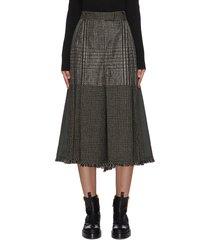 glen check panel fray trim culotte skirt