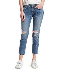 rag & bone women's dre low-rise distressed slim boyfriend jeans - star city - size 32 (10-12)