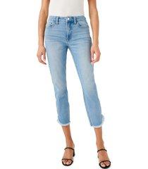 women's jen7 fray tulip hem crop skinny jeans, size 18 - blue