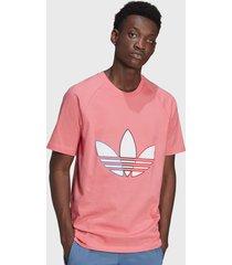 polera adidas originals tricolor trefoil t shirt rosa - calce regular