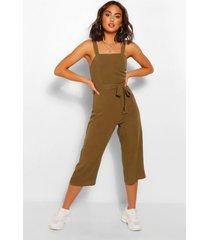 linnen culotte-jumpsuit met strik, kaki