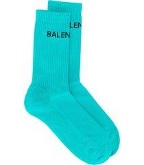 balenciaga logo ribbed ankle socks - blue