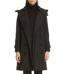 burberry kensington trench coat with detachable hood, size 8 in black at nordstrom