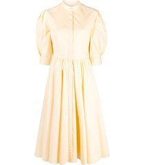 alexander mcqueen bow-detail flared midi dress - yellow
