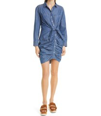 women's veronica beard sierra ruched long sleeve denim dress, size 10 - blue