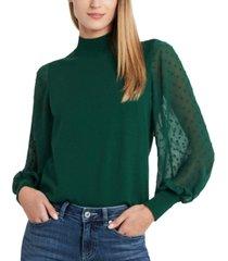 cece mockneck contrast sleeve sweater