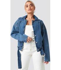 trendyol belt detailed denim jacket - blue