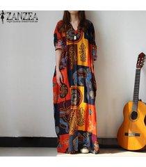 zanzea mujer aleatoria de la impresión floral con cuello en v vestido kaftan la manga del batwing bolsillos partido flojo de lino largo maxi vestido más del tamaño -multicolor