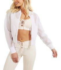 guess mesh-knit zip-front jacket