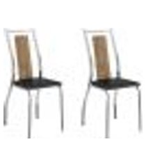 conjunto 2 cadeiras tubo cromado native napa preta carraro