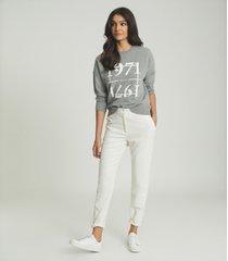 reiss aimee - 1971 graphic loungewear sweatshirt in grey, womens, size l