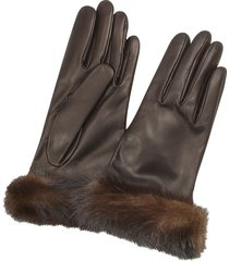 forzieri designer women's gloves, women's dark brown italian nappa leather gloves w/mink fur