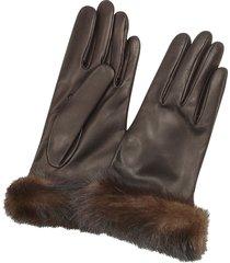 forzieri designer women's gloves, women's dark brown italian nappa leather gloves w/mink fur