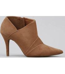 ankle boot feminina vizzano bico fino bege