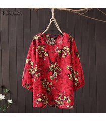 zanzea mujeres de cuello redondo y estampado floral étnico tapas de la camisa de la blusa asimétrica floja -rojo