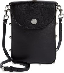 rebecca minkoff envelope leather phone crossbody bag - black