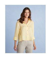 camisa cambraia linho reta cor: amarelo - tamanho: pp