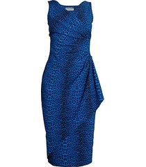 asymmetric leopard-print sheath dress
