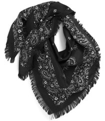 women's treasure & bond print square silk scarf, size one size - black