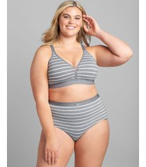 lane bryant women's cotton lightly lined no-wire full coverage bra with lace back 48dd grey stripes