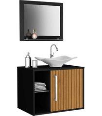 gabinete banheiro baden c/ cuba e espelheira preto móveis bechara - tricae