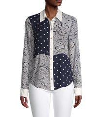 tommy hilfiger women's polka-dot & paisley long-sleeve shirt - midnight ivory - size xs